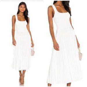 THEORY Square Neck Ribbed Pleated Midi Dress NWT S